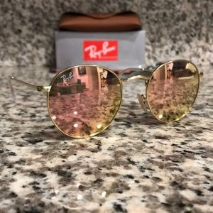 Ray Ban 3447 Round 112/Z2 Gold/Pink Flash